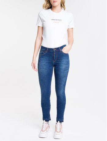 Calca-Jeans-Feminina-Five-Pockets-Slim-Cintura-Media-Azul-Marinho-Calvin-Klein