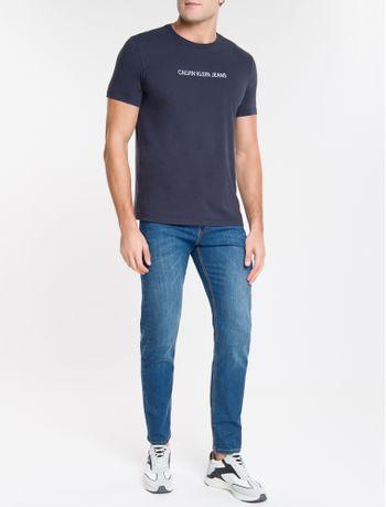 Calca-Jeans-Masculina-Five-Pockets-Slim-Reta-Destroyed-Cintura-Regular-Azul-Medio-Calvin-Klein