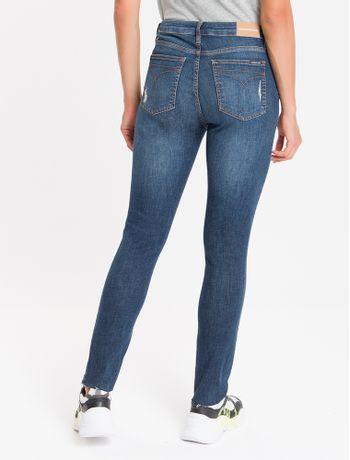 Calca-Jeans-Feminina-Skinny-com-Premium-Stretch-Cintura-Alta-Azul-Marinho-Calvin-Klein