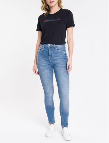 Calca-Jeans-Feminina-Skinny-com-Premium-Stretch-Cintura-Alta-Azul-Medio-Calvin-Klein