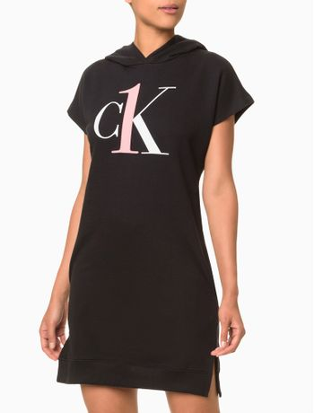 Vestido-Moletom-Feminino-CK-One-Preto-Loungewear-Calvin-Klein