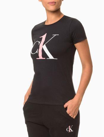 Camiseta-Feminina-CK-One-Preta-Loungewear-Calvin-Klein