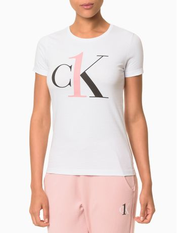 Camiseta-Feminina-CK-One-Branca-Logo-Rosa-Loungewear-Calvin-Klein
