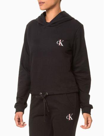Moletom-Feminino-com-Capuz-Cropped-CK-One-Preto-Loungewear-Calvin-Klein