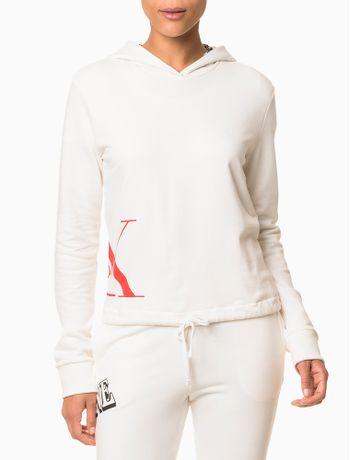 Moletom-Feminino-com-Capuz-Cropped-CK-One-Nude-Loungewear-Calvin-Klein