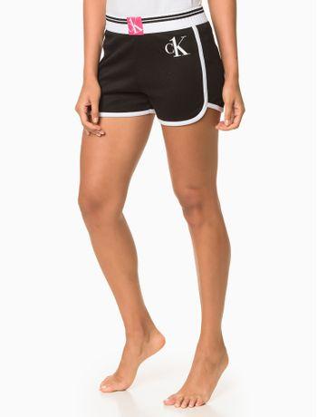 Short-Feminino-CK-One-Sock-Preto-Loungewear-Calvin-Klein
