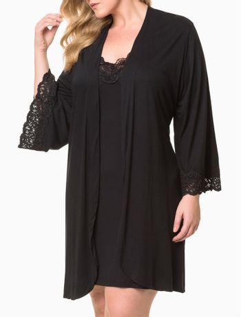 Pijama-Feminino-Kimono-de-Renda-Plus-Size-Preto-Calvin-Klein