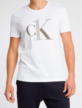 Camiseta-Masculina-CK-One-Branca-Logo-Cinza-Loungewear-Calvin-Klein