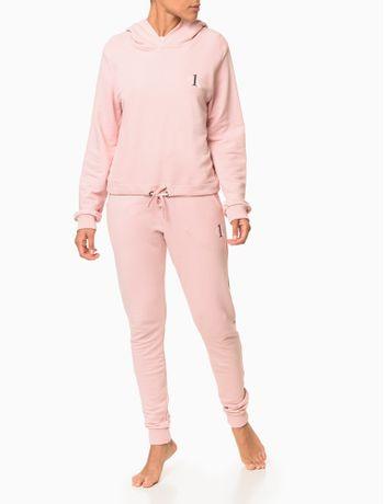 Moletom-Feminino-com-Capuz-Cropped-CK-One-Rosa-Claro-Loungewear-Calvin-Klein
