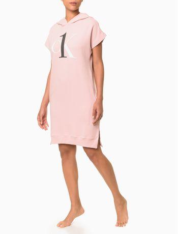 Vestido-Moletom-Feminino-CK-One-Rosa-Claro-Loungewear-Calvin-Klein