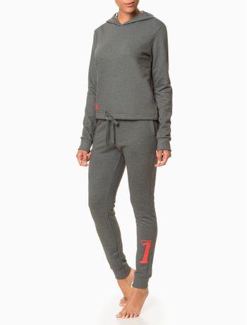 Moletom-Feminino-com-Capuz-Cropped-CK-One-Cinza-Mescla-Loungewear-Calvin-Klein