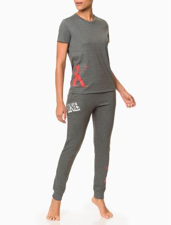 Camiseta-Feminina-CK-One-Cinza-Mescla-Loungewear-Calvin-Klein