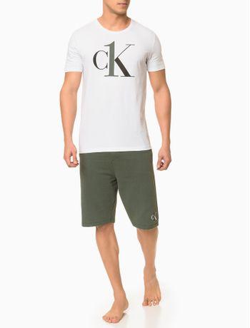 Camiseta-Masculina-CK-One-Branca-Logo-Preto-Loungewear-Calvin-Klein