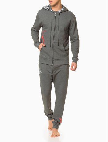 Moletom-Masculino-com-Capuz-CK-One-Cinza-Mescla-Loungewear-Calvin-Klein