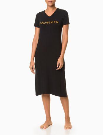 Pijama-Feminino-Camisola-Longa-Fendas-Laterais-Preto-Calvin-Klein