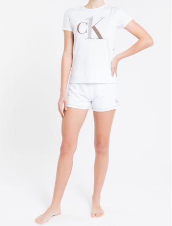 Camiseta-Feminina-CK-One-Branca-Logo-Cinza-Loungewear-Calvin-Klein