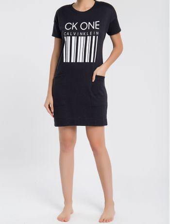 Vestido-Feminino-CK-One-Barcode-Preto-Loungewear-Calvin-Klein