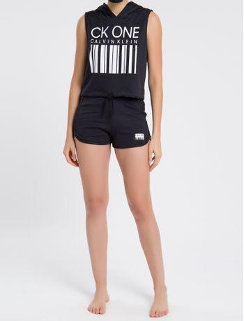 Moletom-Feminino-Regata-com-Capuz-CK-One-Barcode-Preto-Loungewear-Calvin-Klein