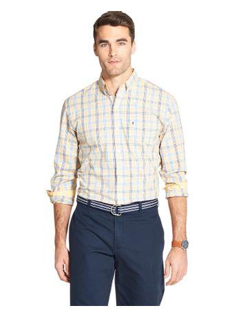Camisa-Xadrez-Manga-Longa-Regular-Masculina-Amarelo