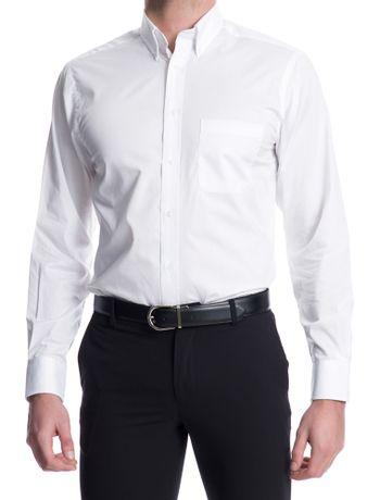 Camisa-Lisa-Manga-Longa-Regular-Masculina-Branca