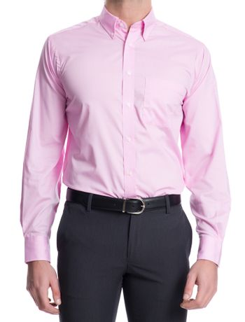 Camisa-Lisa-Manga-Longa-Regular-Masculina-Rosa-Claro
