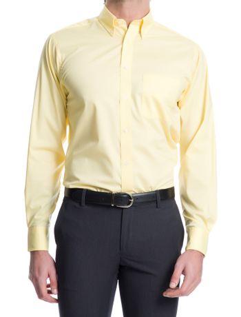 Camisa-Lisa-Manga-Longa-Regular-Masculina-Amarelo-Claro