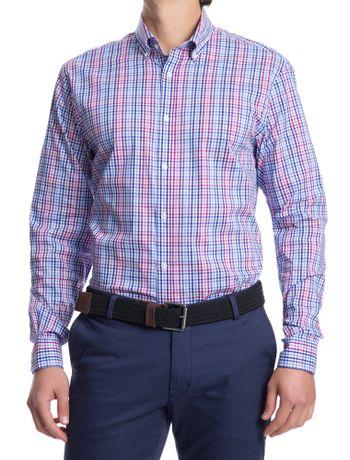 Camisa-Xadrez-Manga-Longa-Regular-Masculina-Vermelho-E-Azul