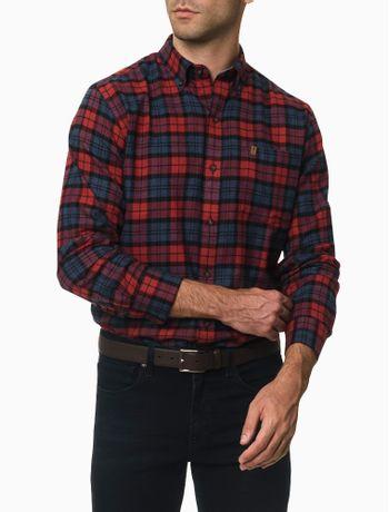 Camisa-Xadrez-Manga-Longa-Regular-Masculina-Bordo