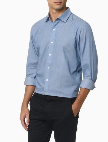 Camisa-Mini-Jacquard-Masculina-Azul-Claro