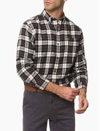 Camisa-Xadrez-Manga-Longa-Regular-Masculina-Cinza-Chumbo