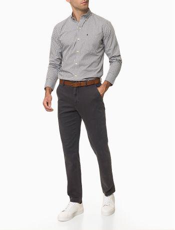Camisa-Xadrez-Manga-Longa-Regular-Masculina-Caqui