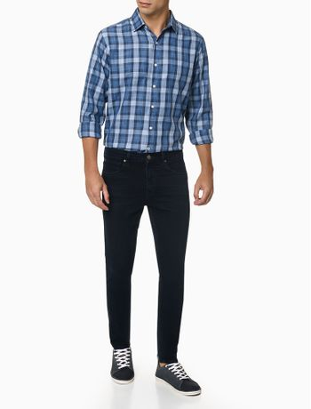 Camisa-Xadrez-Manga-Longa-Regular-Masculina-Azul