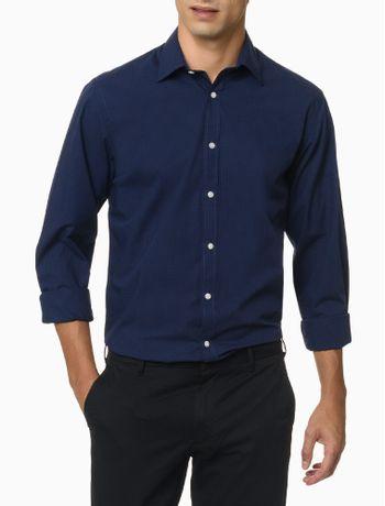 Camisa-Manga-Longa-Micro-Xadrez-Izod---Azul-Escuro