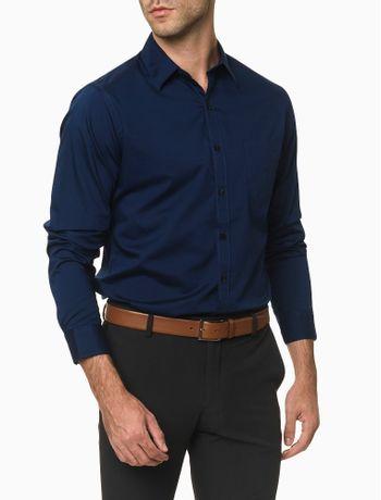 Camisa-Manga-Longa-Slim-Tricoline-Basica-Van-Heusen---Azul-Marinho