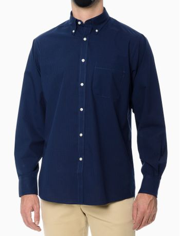 Camisa-Xadrez-Manga-Longa-Regular-Masculina-Azul-Marinho